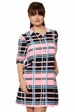 Polyester Checked Shirt Dresses for Women