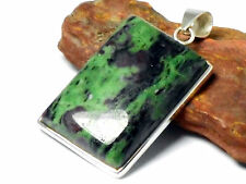 Big  RUBY - ZOISITE   Sterling  Silver  925  Gemstone  PENDANT -  Gift  Boxed