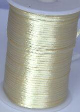 10-100 yard 2MM Rattail Satin Cord Macrame Beading Nylon Chinese knot rope