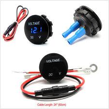Waterproof Mini Round LED Digital Display 0-30V Car Truck Boat Voltmeter Meter