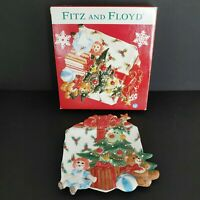 """Fitz and Floyd Wee Christmas Tree Canape Plate with Raggedy Ann 10"""""""