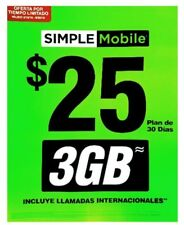 Simple Mobile Preloaded Sim Card $25 Plan Unlimited Talk,text 3GB High Speed