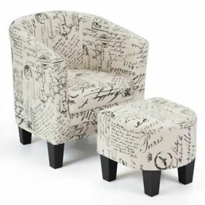 Barrel Accent Linen Fabric Upholstered Chair Tub Chair-Beige