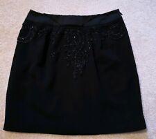 Karen Millen Black Crepe Embellished Beaded Party Mini Skirt Fully Lined Size 8