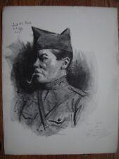 Lithographie Litho signée et dédicacée de Lucien JONAS  Soldat américain WW1 US