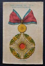 ORDER OF THE CHRYSANTHEMUM JAPAN War Medals issued 1911 Wills Australia SILK