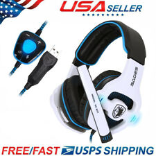 USB Headset with LED Microphone Noise Cancelling Computer PC Headset Lightweight
