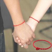 2 Pcs Men Women Good Luck Hand Braided Lucky Red String Rope Cord Bracelet Gift