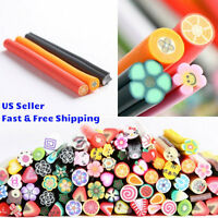 100 New 3D Nail Art Fimo Canes Sticks Rods Polymer Clay StickersTips Decoration