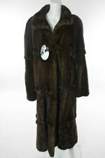 NEW DESIGNER Brown Mink Fur Crew Neck Pocket Front Long Sleeve Coat Sz L