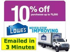 Five(5x) Lowes 10% Off Discount- expiry 9/30/18  sc