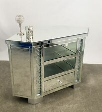 Venetian Mirrored Glass Floating Crystal Large 1 Drawer TV Corner Cabinet Stand