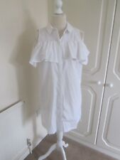 BNWT TOPSHOP 2017 WHITE FRILL COLD SHOULDER SHIRT DRESS SIZE 12 RRP 42.00