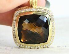 David Yurman 18K Yellow Gold Smoky Quartz Diamond 26mm Albion Pendant Necklace