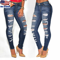 Women Denim Skinny Pants High Waist Destroyed Hole Slim Jeans Pants Trousers US