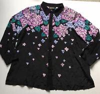 Bob Mackie Plus 2X Black Floral Beaded Blouse Tunic Wearable Art Purple Green