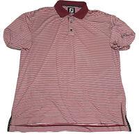 FootJoy Men's XL Red White Striped Golf Polo Logo Stretch Logo Fairway Shirt EUC