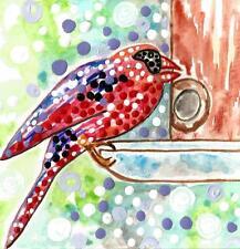 BIRD BIRDFEEDER ART painting wild red birds cardinals black face ebay birdhouse