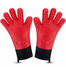 Grill Gloves Water/ Heat Resistant Gloves BBQ Silicone Oven Mitts Long Non-Slip