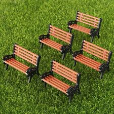 5x Model Park Benches Seated People Miniatures Train Scenery Layout 1:30 Scale