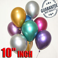 "10"" Metallic Pearl Chrome Latex Balloons for Wedding Birthday Party UK 10-100PCS"