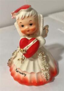 1956 Napco February Valentine Girl Angel Bell W/ Spaghetti Trim #1307B