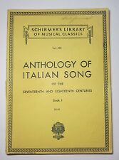 Anthology Of Italian Song Of the 17th and 18th Centuries Book 1 Schirmer 1926