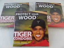 "TIGER WOODS CONDOMS, ""Protect Your Wood"" SPECIAL EDITION, 3-Pack, swingers  only"