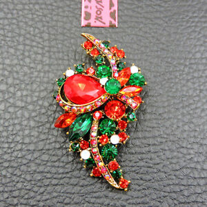 New Betsey Johnson Red Crystal Enamel Delicate Flower Charm Brooch Pin Gift