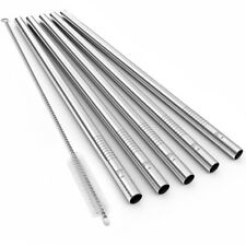 Reusable Stainless Steel Smoothie Straws ECO AT HEART Extra Wide/Long - Set of 5