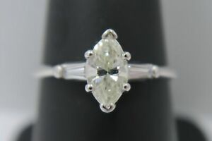 14K White Gold ~ 3/4 Carat DIAMOND Marquise Solitaire w/ Accents Engagement Ring