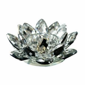 "3"" Crystal Glass Lotus Flower Candle Tea Light Holder Buddhist Candlestick"