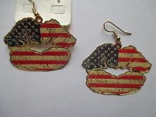 """Boucles d'oreilles drapeau américain """"  kiss USA """" country"""