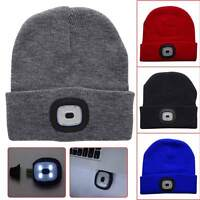 Unisex 4 LED Lighting Hat Winter Warm Knitted Sport Cap Hunting Camping Running