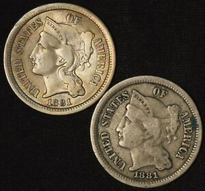 1881 (2) Nickel Three-Cent Pieces - Free Shipping USA