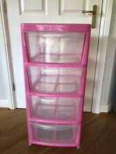 Pink Plastic 4 Drawer Tower