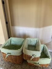 3 POTTERY BARN KIDS GREEN GINGHAM SMALL MEDIUM LARGE, Preowned
