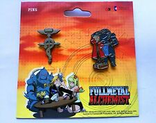 OFFICIAL FullMetal Alchemist Brotherhood Pin Set Flamel, Elric Brothers SOLD OUT