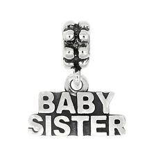 Sterling Silver Oxidized Baby Sister Dangle Bead Charm