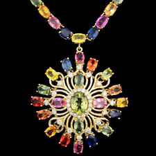 Certified Multi Colored Sapphire  55.05cttw and 1.10cttw Diamond 14KT Necklace