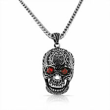 Stainless Steel Large Silver-tone Ruby-Tone Crystals CZ Skull Mens Necklace