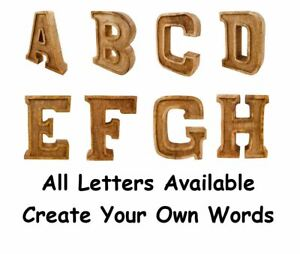 Wooden Rustic Free Standing Shabby Chic Large Hand Carved Letters Alphabet