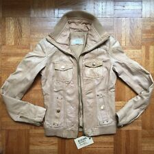 New Genuine Leather Jacket Beige light brown tan motorcycle by Bershka Sz S