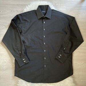 "Balmain Paris Black Shirt 16.5"" Collar Formal White Embroidery Button Up Smart"