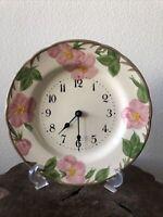 """Fransican Desert Rose Clock England 10 1/2"""" Vintage Hand Painted"""