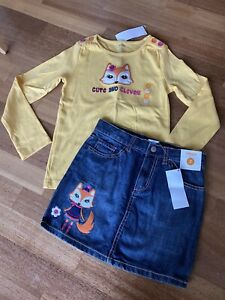 Gymboree Fashionable Fox Shirt Jeans Skort Set Cute Clever Girls Size 7 NWT