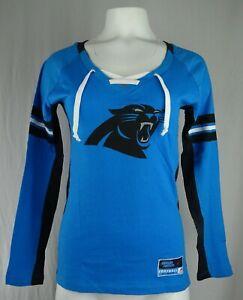 Carolina Panthers NFL Majestic Women's Lace-Up V-Neck Shirt