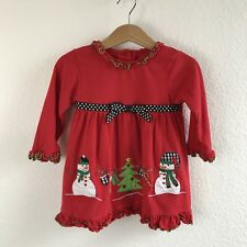 Good Lad Girls Dress Cotton Size 2T Christmas Holiday Red Ruffle Snowmen Tree