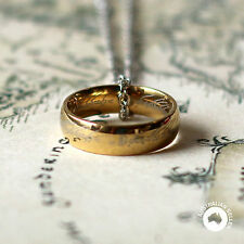 The Hobbit Ring Necklace Pendant Engraving Lord of The Rings 18k Gold Plated