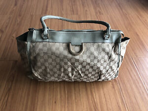 Gucci Beige/Green GG Canvas and Leather D Ring Tote